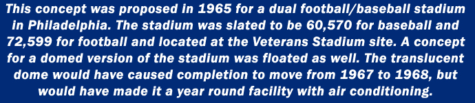 This concept was proposed in 1965 for a dual football/baseball stadium in Philadelphia. The stadium was slated to be 60,570 for baseball and 72,599 for football and located at the Veterans Stadium site. A concept for a domed version of the stadium was floated as well. The translucent  dome would have caused completion to move from 1967 to 1968, but  would have made it a year round facility with air conditioning.