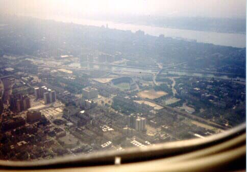 View of Yankee Stadium from a plane